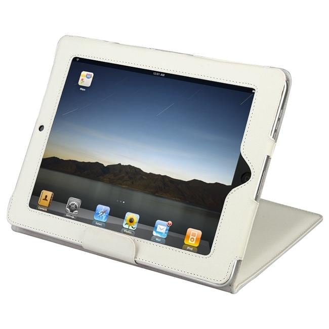 INSTEN White Leather Tablet Case Cover with Stand for Apple iPad