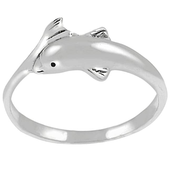 Journee Collection Sterling Silver Dolphin Head and Tail Ring