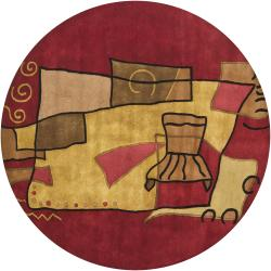 Hand-Tufted Modern Mandara New Zealand Wool Rug (7'9 Round)