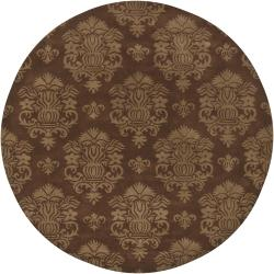 Hand-Tufted Damask Mandara New Zealand Wool Rug (7'9 Round)