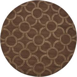 Hand-Tufted Light/Dark Brown Mandara New Zealand Wool Rug (7'9 Round)