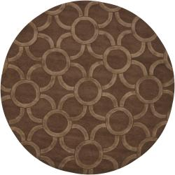 Hand-Tufted Light/Dark Brown Mandara New Zealand Wool Rug (7'9 Round)