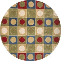 Hand-Tufted Multicolor Casual Mandara New Zealand Wool Rug (7'9 Round)
