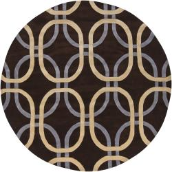 Hand-Tufted Brown/Ivory/Gray Mandara Brown New Zealand Wool Rug (7'9 Round)