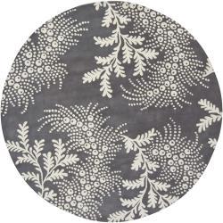 "Hand-Tufted Mandara Gray New Zealand Wool Area Rug (7'9"" Round)"