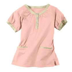 IguanaMed Women's Soft Rose Henley Scrub Top