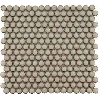 SomerTile 12.25x12-in Penny 3/4-in Caffe Porcelain Mosaic Tile (Pack of 10)