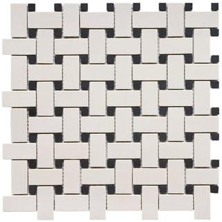 SomerTile 12x12 inch New York Basket Weave Unglazed Porcelain Tile (Pack of 10)