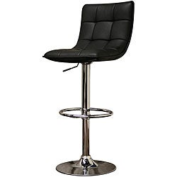 Aleena Modern Black Faux Leather Bar Stools (Set of 2)