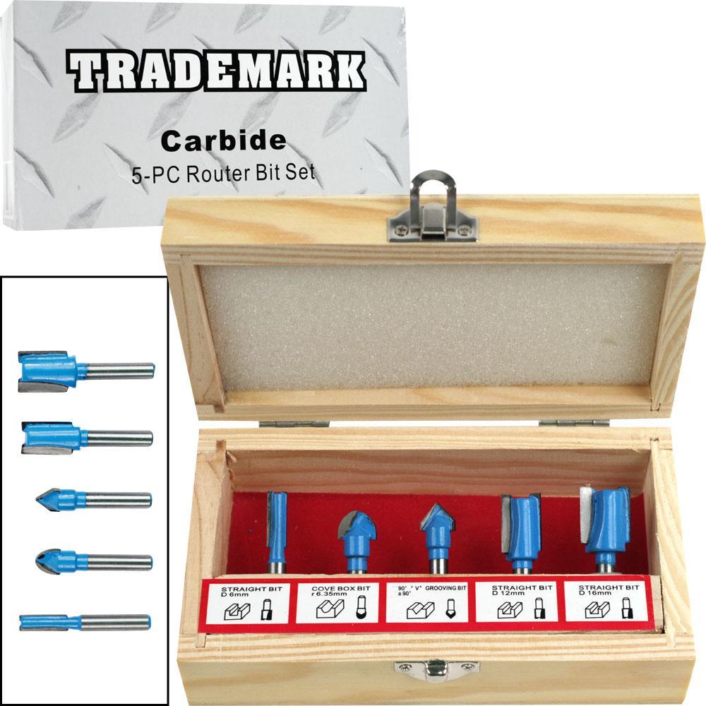 5-piece Carbide Router Bit Set in Wooden Case