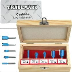 5-piece Carbide Router Bit Set in Wooden Case