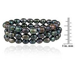 Glitzy Rocks Sterling Silver Peacock Freshwater Pearl 3-row Stretch Bracelet (7-9 mm)