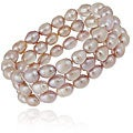 Glitzy Rocks Silver Pink Freshwater Pearl 3-row Stretch Bracelet (7-9 mm)