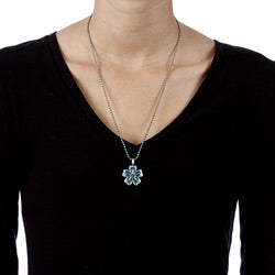 Bico Australia Pewter and Blue Resin 'Water Lily' Necklace
