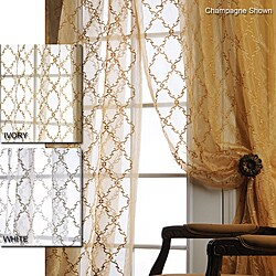 Jonquille 108-inch Faux Silk Embroidered Organza Sheer Panel