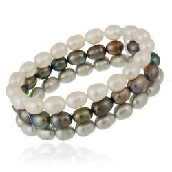 Glitzy Rocks Sterling Silver Freshwater Pearl 3-row Stretch Bracelet (7-9 mm)