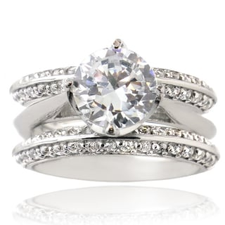 Icz Stonez Sterling Silver Round-cut Cubic Zirconia Bridal Ring Set