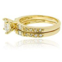Icz Stonez 18k Gold over Sterling Silver Prong-set Cubic Zirconia Bridal Ring Set