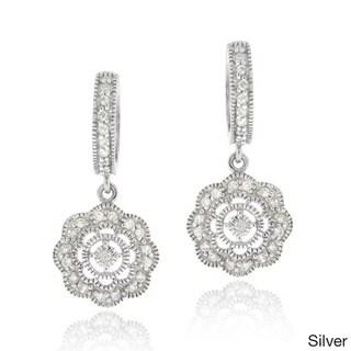 Icz Stonez Cubic Zirconia Flower Dangle Earrings