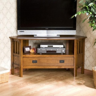 Upton Home Chenton Oak Corner Media Stand