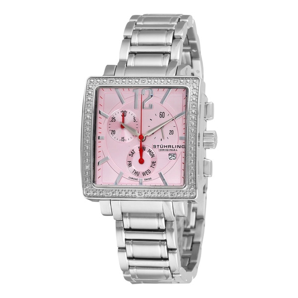 Stuhrling Original Women's Pink-Dial Diamond Chronograph Watch