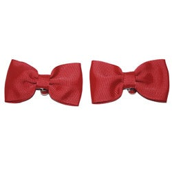 Red Fabric Bow Shoe Clips