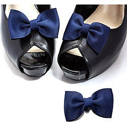 Navy Fabric Bow Shoe Clips