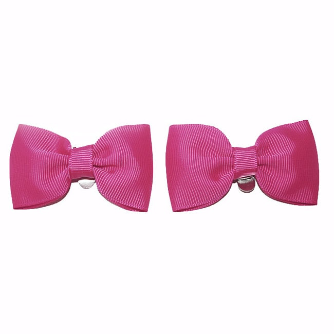 Hot Pink Fabric Bow Shoe Clips