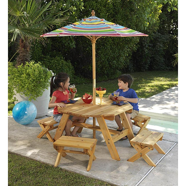 Octagon Table & 4 Benches with Multi striped Umbrella