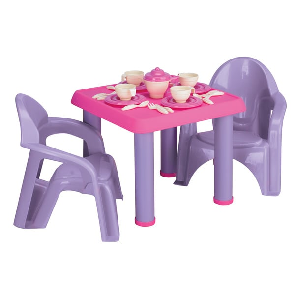 American Plastic Toys Table Chairs and 28-pc Tea Party Set