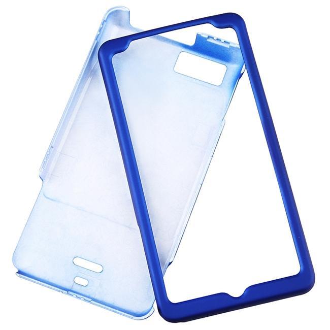 INSTEN Dark Blue Rubber Coated Phone Case Cover for Motorola Droid X/ Droid X2 Daytona