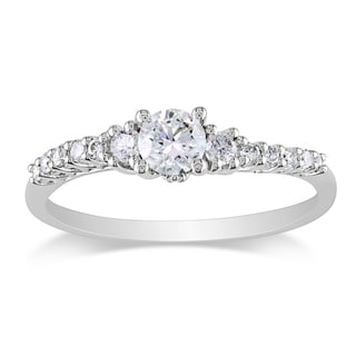Miadora 14k White Gold 1/2ct TDW Diamond Engagement Ring (G-H, I2-I3)