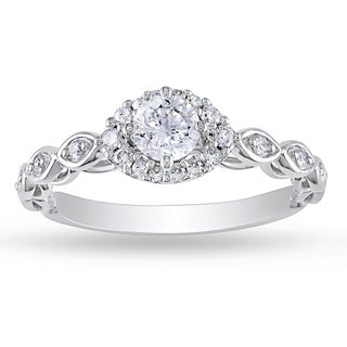 Miadora 10k White Gold 1/2ct TDW Diamond Halo Ring (G-H, I2-I3)