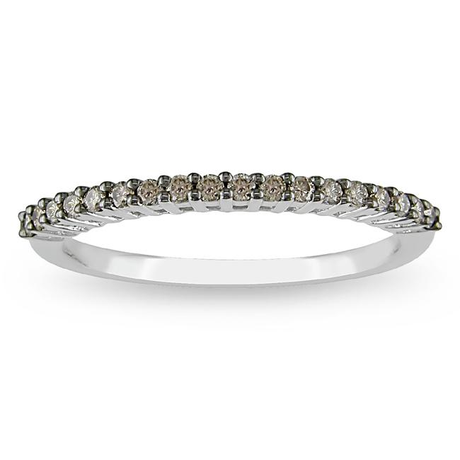 M by Miadora 10k White Gold 1/5ct TDW Brown Color Diamond Band
