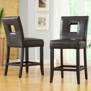 Mendoza Brown Keyhole Counter Height Stools (Set of 2)