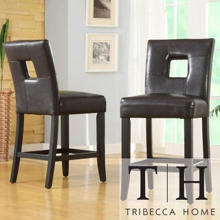 Tribecca Home Mendoza Brown Keyhole Counter Height Stools (Set of 2)