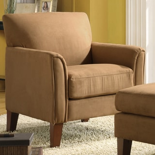 TRIBECCA HOME Uptown Peat Microfiber Modern Arm Accent Chair