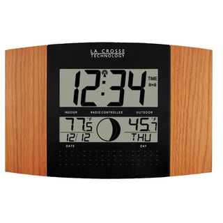 La Crosse Atomic Wood Finish Digital Indoor Wall Clock