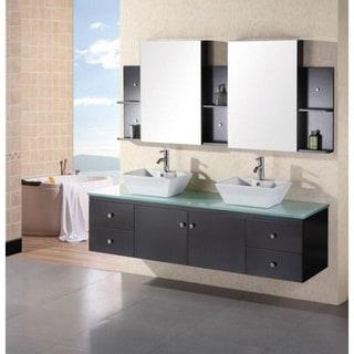 Design Element New Port Wall Mount Double Sink Bathroom Vanity Set