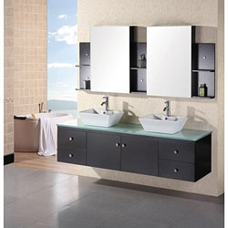 Design Element New Port Wall Mount Double Sink Bathroom Vanity Set