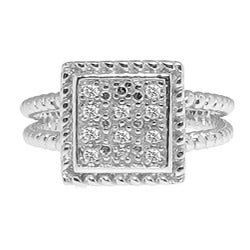 Sterling Silver 1/10ct TDW Diamond Square Ring (H-I, I3)