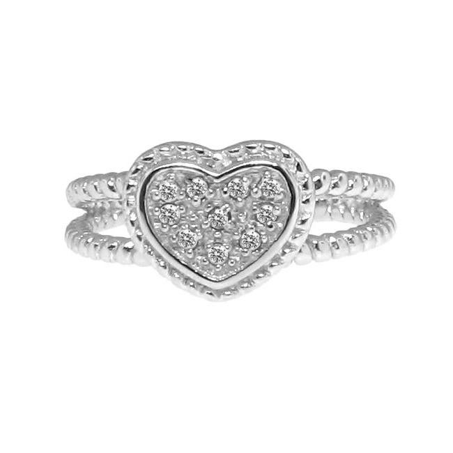 Sterling Silver 1/10ct TDW Diamond Accent Heart Ring (H-I, I3)