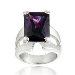 Icz Stonez Sterling Silver Purple Cubic Zirconia Ring