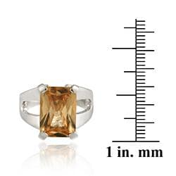 Icz Stonez Sterling Silver Champagne Cubic Zirconia Ring