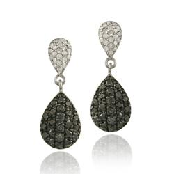 DB Designs Sterling Silver 4/5ct TDW Black and White Diamond Earrings (I-J, I2-I3)