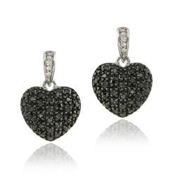 DB Designs Sterling Silver 4/5ct TDW Black and White Diamond Heart Earrings (I-J, I2-I3)