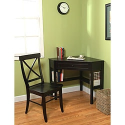 Black Corner Desk and Crossback Chair 2-piece Study Set
