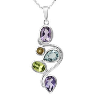 Sterling Silver Multi-colored Gemstones Necklace (Thailand)
