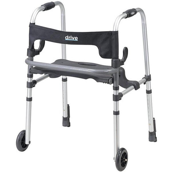 Drive Clever-Lite Rollator Walker with Seat and Push Down Brakes