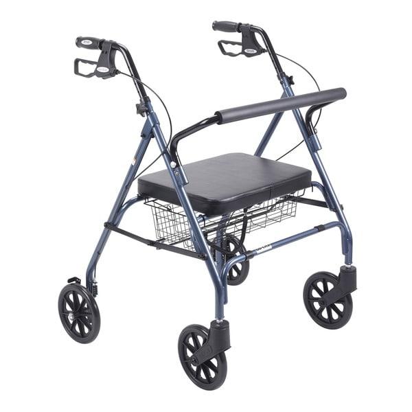 Drive Heavy Duty Blue Bariatric Large Padded Seat Rollator Walker